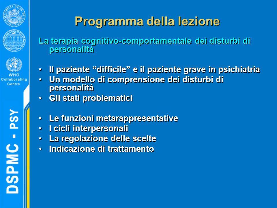 """Programma della lezione La terapia cognitivo-comportamentale dei disturbi di personalità Il paziente """"difficile"""" e il paziente grave in psichiatriaIl"""