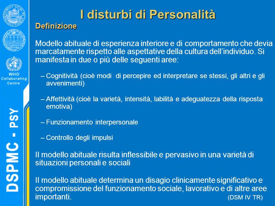 Definizione Modello abituale di esperienza interiore e di comportamento che devia marcatamente rispetto alle aspettative della cultura dell'individuo.