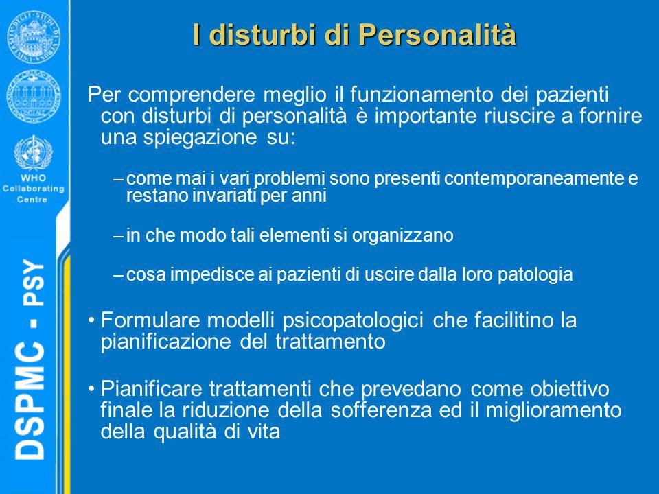 Per comprendere meglio il funzionamento dei pazienti con disturbi di personalità è importante riuscire a fornire una spiegazione su: –come mai i vari
