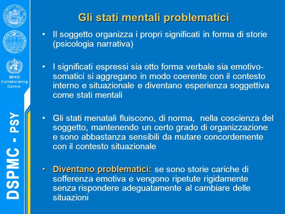 Gli stati mentali problematici Il soggetto organizza i propri significati in forma di storie (psicologia narrativa) I significati espressi sia otto fo