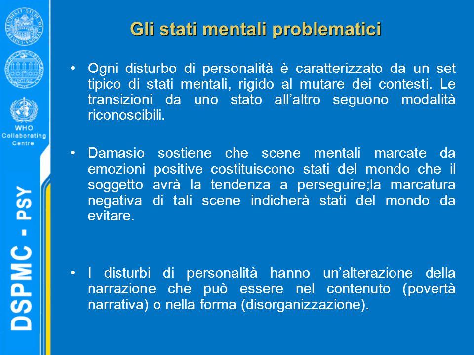 Gli stati mentali problematici Ogni disturbo di personalità è caratterizzato da un set tipico di stati mentali, rigido al mutare dei contesti.