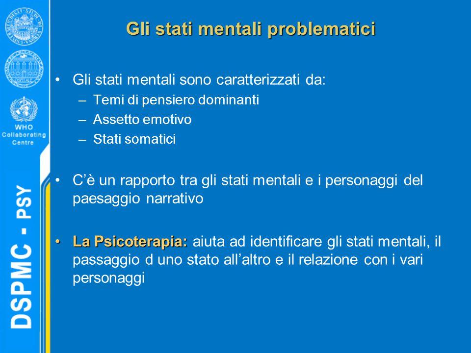 Gli stati mentali problematici Gli stati mentali sono caratterizzati da: –Temi di pensiero dominanti –Assetto emotivo –Stati somatici C'è un rapporto