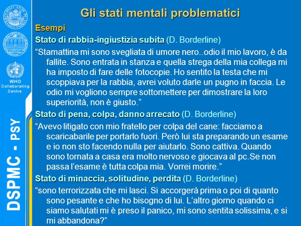 Gli stati mentali problematici Esempi Stato di rabbia-ingiustizia subita Stato di rabbia-ingiustizia subita (D.