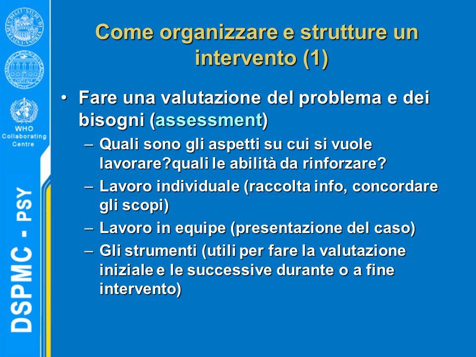 Come organizzare e strutture un intervento (1) Fare una valutazione del problema e dei bisogni (assessment)Fare una valutazione del problema e dei bisogni (assessment) –Quali sono gli aspetti su cui si vuole lavorare?quali le abilità da rinforzare.