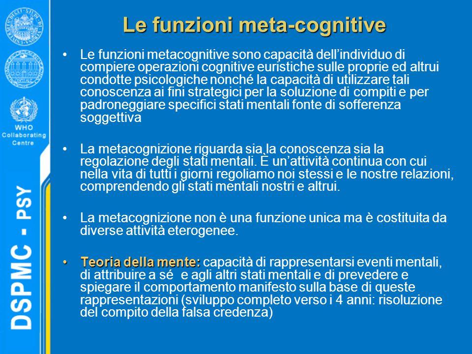 Le funzioni meta-cognitive Le funzioni metacognitive sono capacità dell'individuo di compiere operazioni cognitive euristiche sulle proprie ed altrui