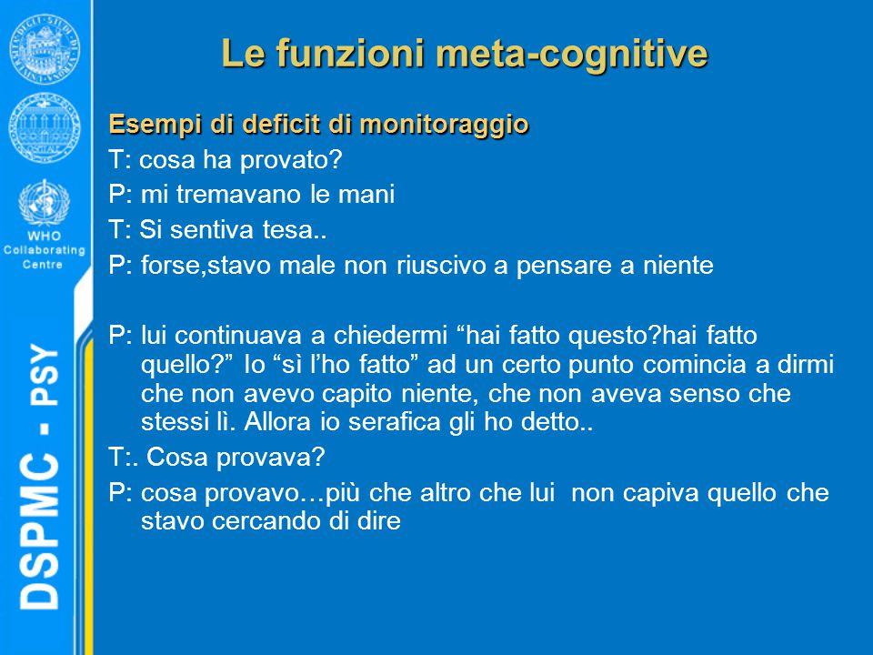 Le funzioni meta-cognitive Esempi di deficit di monitoraggio T: cosa ha provato? P: mi tremavano le mani T: Si sentiva tesa.. P: forse,stavo male non