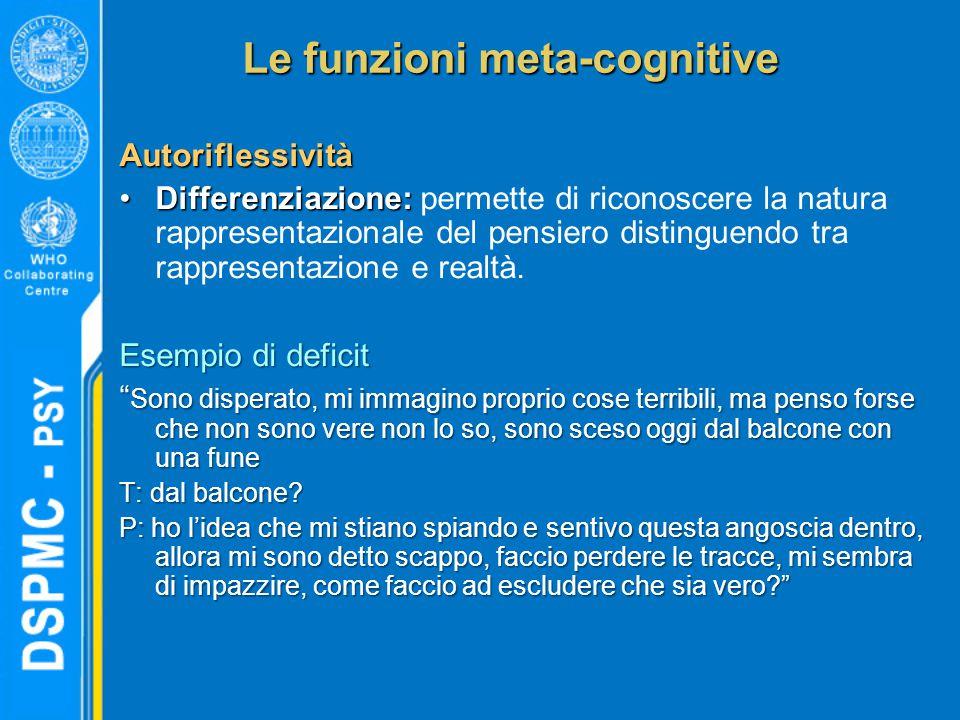 Le funzioni meta-cognitive Autoriflessività Differenziazione:Differenziazione: permette di riconoscere la natura rappresentazionale del pensiero distinguendo tra rappresentazione e realtà.