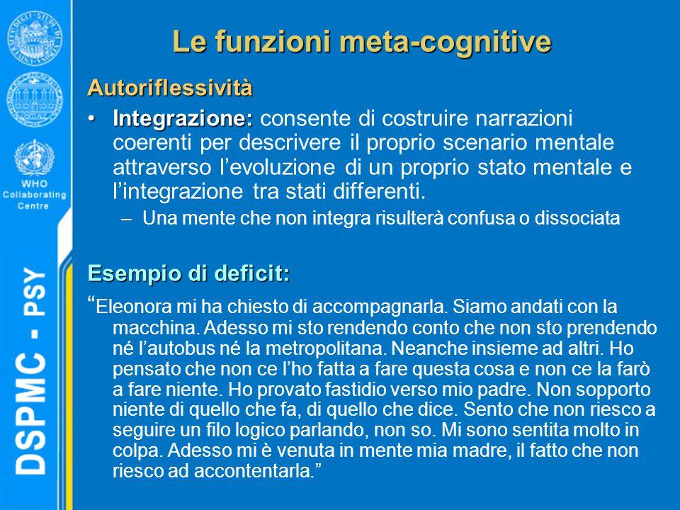 Le funzioni meta-cognitive Autoriflessività Integrazione:Integrazione: consente di costruire narrazioni coerenti per descrivere il proprio scenario mentale attraverso l'evoluzione di un proprio stato mentale e l'integrazione tra stati differenti.