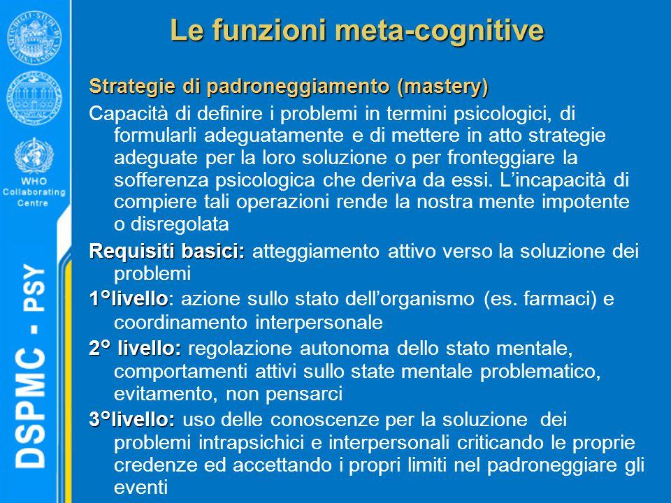 Le funzioni meta-cognitive Strategie di padroneggiamento (mastery) Capacità di definire i problemi in termini psicologici, di formularli adeguatamente e di mettere in atto strategie adeguate per la loro soluzione o per fronteggiare la sofferenza psicologica che deriva da essi.