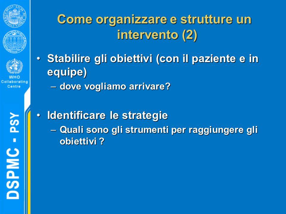 Come organizzare e strutture un intervento (2) Stabilire gli obiettivi (con il paziente e in equipe)Stabilire gli obiettivi (con il paziente e in equipe) –dove vogliamo arrivare.