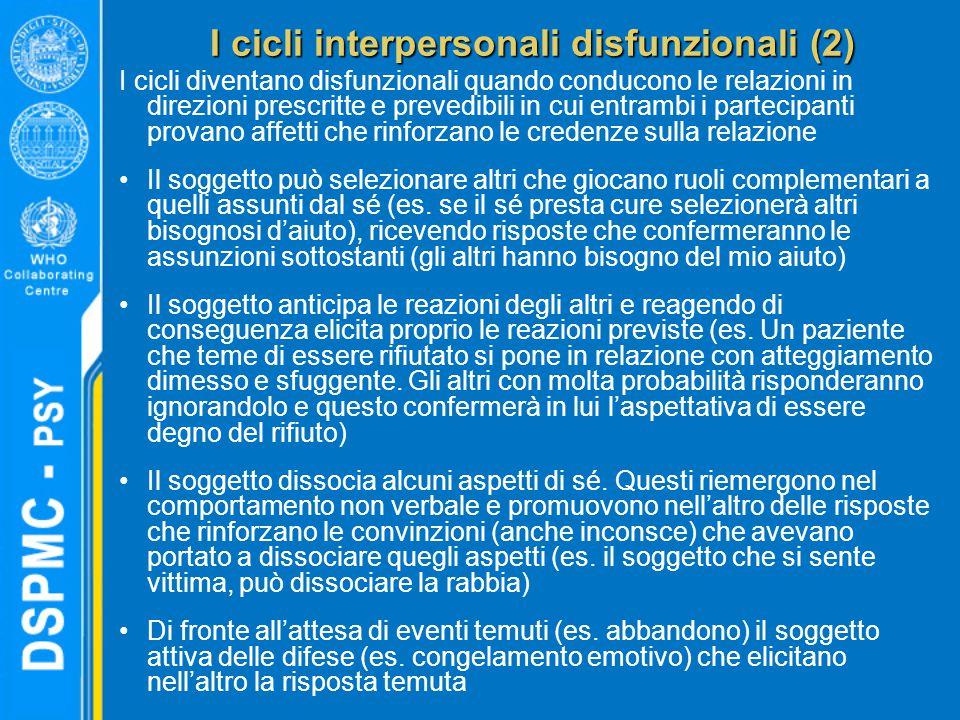 I cicli interpersonali disfunzionali (2) I cicli diventano disfunzionali quando conducono le relazioni in direzioni prescritte e prevedibili in cui en