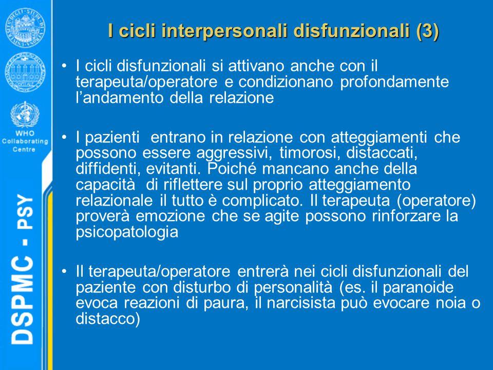 I cicli interpersonali disfunzionali (3) I cicli disfunzionali si attivano anche con il terapeuta/operatore e condizionano profondamente l'andamento della relazione I pazienti entrano in relazione con atteggiamenti che possono essere aggressivi, timorosi, distaccati, diffidenti, evitanti.