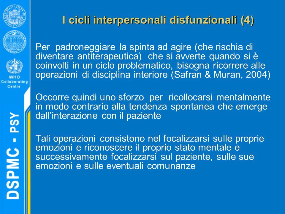 I cicli interpersonali disfunzionali (4) Per padroneggiare la spinta ad agire (che rischia di diventare antiterapeutica) che si avverte quando si è co