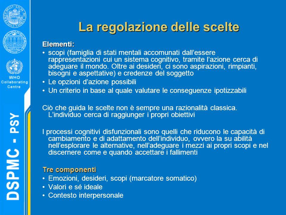 La regolazione delle scelte Elementi: scopi (famiglia di stati mentali accomunati dall'essere rappresentazioni cui un sistema cognitivo, tramite l'azi