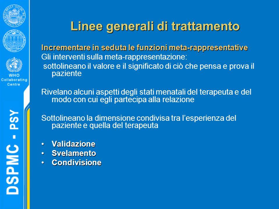 Linee generali di trattamento Incrementare in seduta le funzioni meta-rappresentative Gli interventi sulla meta-rappresentazione: sottolineano il valo