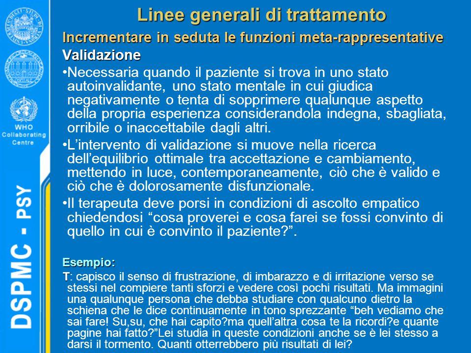 Linee generali di trattamento Incrementare in seduta le funzioni meta-rappresentative Validazione Necessaria quando il paziente si trova in uno stato