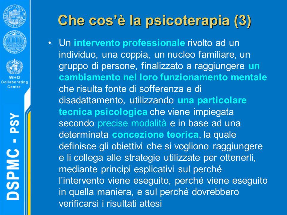 Che cos'è la psicoterapia (3) Un intervento professionale rivolto ad un individuo, una coppia, un nucleo familiare, un gruppo di persone, finalizzato