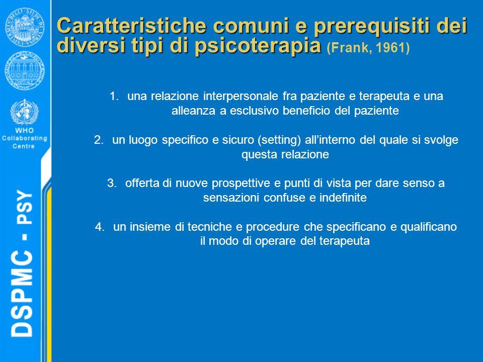 Caratteristiche comuni e prerequisiti dei diversi tipi di psicoterapia Caratteristiche comuni e prerequisiti dei diversi tipi di psicoterapia (Frank,