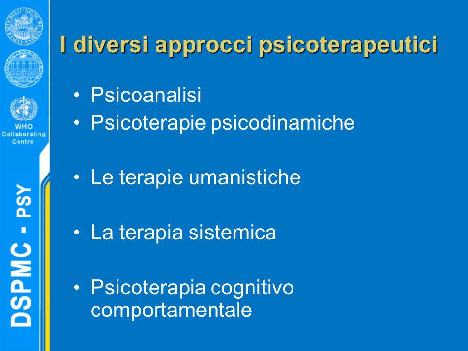 I diversi approcci psicoterapeutici Psicoanalisi Psicoterapie psicodinamiche Le terapie umanistiche La terapia sistemica Psicoterapia cognitivo comportamentale