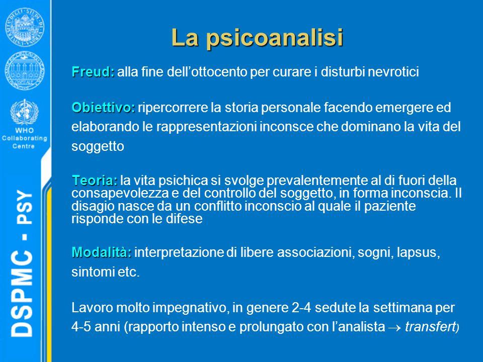 La psicoanalisi Freud: Freud: alla fine dell'ottocento per curare i disturbi nevrotici Obiettivo: Obiettivo: ripercorrere la storia personale facendo emergere ed elaborando le rappresentazioni inconsce che dominano la vita del soggetto Teoria: Teoria: la vita psichica si svolge prevalentemente al di fuori della consapevolezza e del controllo del soggetto, in forma inconscia.