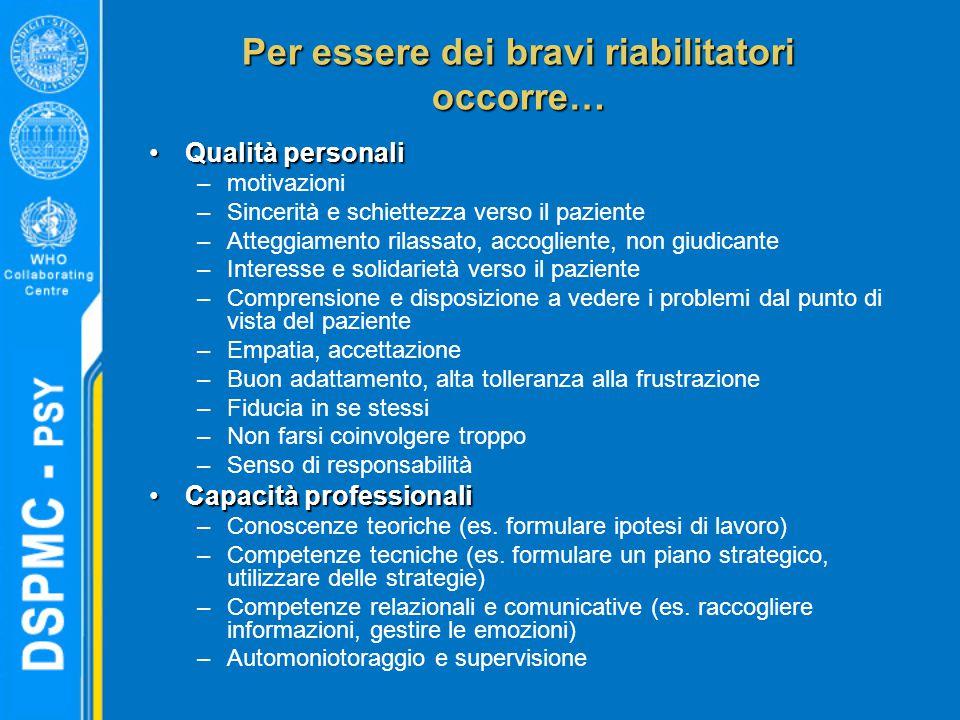 Per essere dei bravi riabilitatori occorre… Qualità personaliQualità personali –motivazioni –Sincerità e schiettezza verso il paziente –Atteggiamento