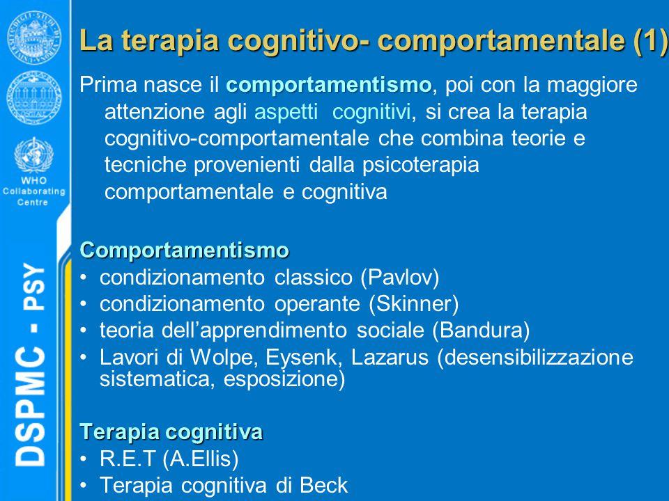 La terapia cognitivo- comportamentale (1) comportamentismo Prima nasce il comportamentismo, poi con la maggiore attenzione agli aspetti cognitivi, si crea la terapia cognitivo-comportamentale che combina teorie e tecniche provenienti dalla psicoterapia comportamentale e cognitivaComportamentismo condizionamento classico (Pavlov) condizionamento operante (Skinner) teoria dell'apprendimento sociale (Bandura) Lavori di Wolpe, Eysenk, Lazarus (desensibilizzazione sistematica, esposizione) Terapia cognitiva R.E.T (A.Ellis) Terapia cognitiva di Beck