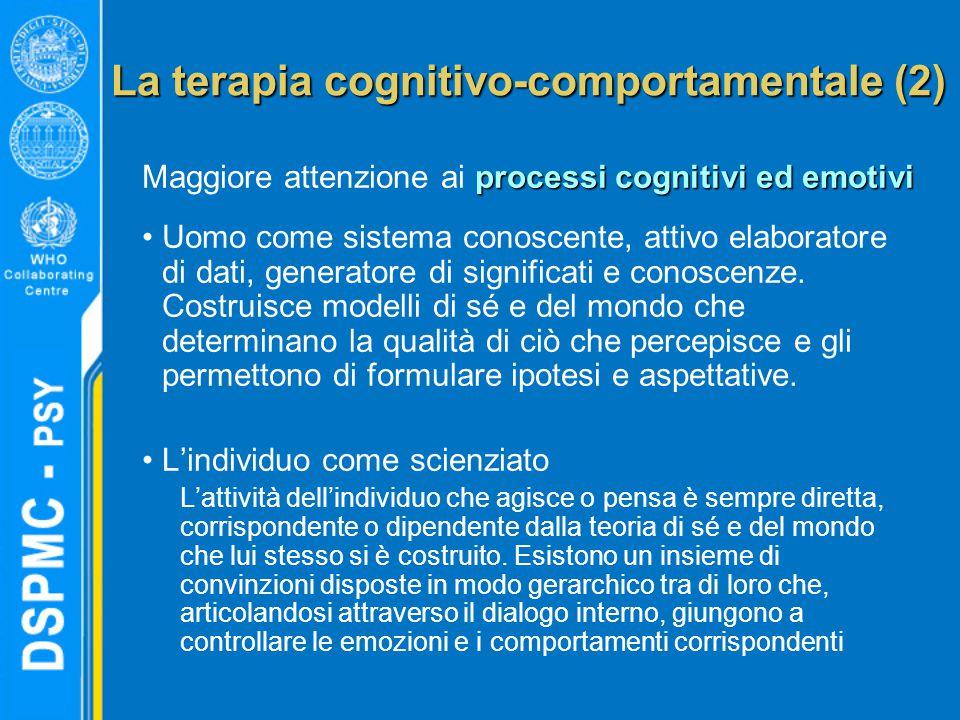 La terapia cognitivo-comportamentale (2) processi cognitivi ed emotivi Maggiore attenzione ai processi cognitivi ed emotivi Uomo come sistema conoscente, attivo elaboratore di dati, generatore di significati e conoscenze.