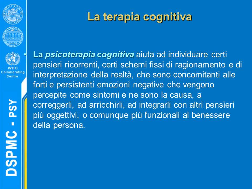La psicoterapia cognitivaLa psicoterapia cognitiva aiuta ad individuare certi pensieri ricorrenti, certi schemi fissi di ragionamento e di interpretaz