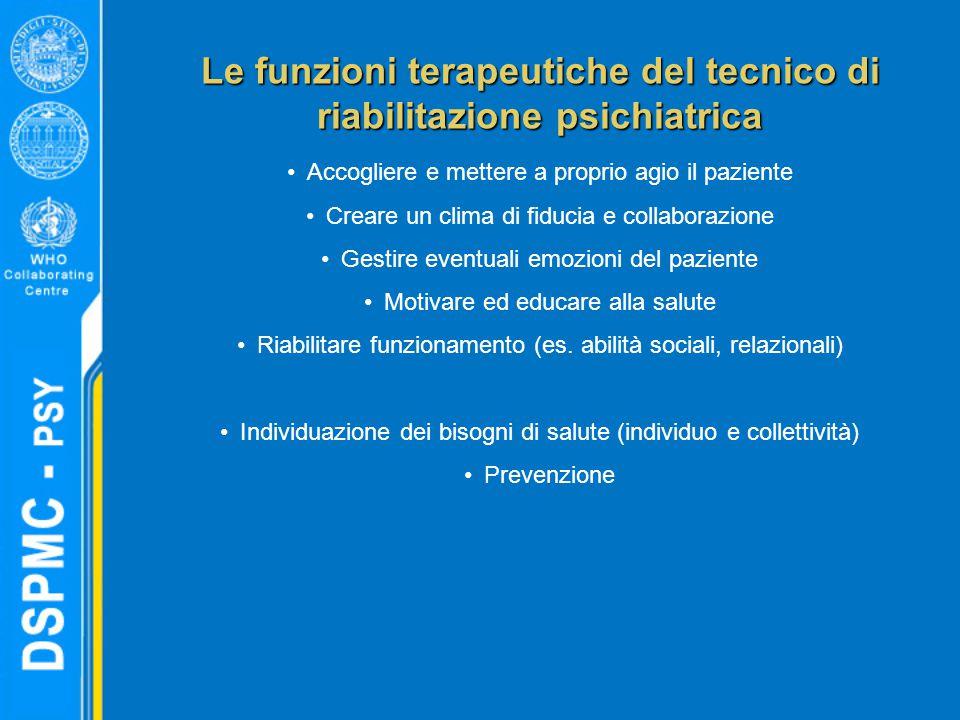Le funzioni terapeutiche del tecnico di riabilitazione psichiatrica Accogliere e mettere a proprio agio il paziente Creare un clima di fiducia e colla