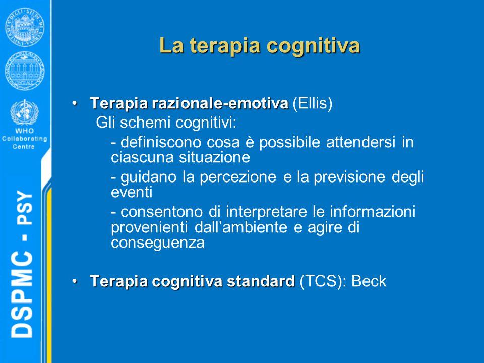 La terapia cognitiva Terapia razionale-emotivaTerapia razionale-emotiva (Ellis) Gli schemi cognitivi: - definiscono cosa è possibile attendersi in ciascuna situazione - guidano la percezione e la previsione degli eventi - consentono di interpretare le informazioni provenienti dall'ambiente e agire di conseguenza Terapia cognitiva standardTerapia cognitiva standard (TCS): Beck