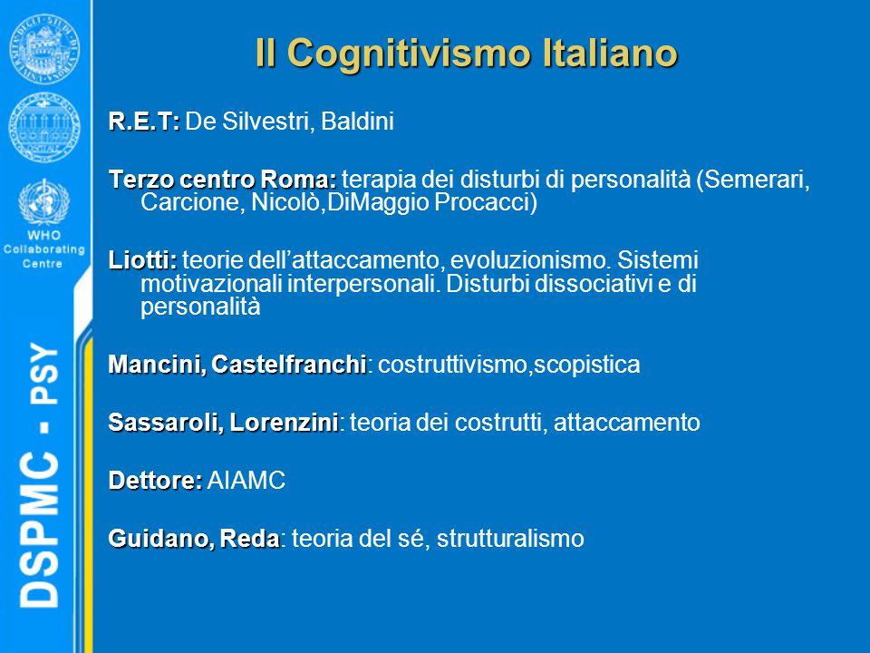 Il Cognitivismo Italiano R.E.T: R.E.T: De Silvestri, Baldini Terzo centro Roma: Terzo centro Roma: terapia dei disturbi di personalità (Semerari, Carc
