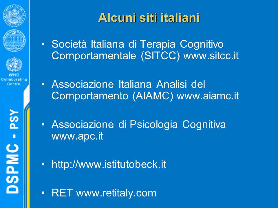 Alcuni siti italiani Società Italiana di Terapia Cognitivo Comportamentale (SITCC) www.sitcc.it Associazione Italiana Analisi del Comportamento (AIAMC) www.aiamc.it Associazione di Psicologia Cognitiva www.apc.it http://www.istitutobeck.it RET www.retitaly.com