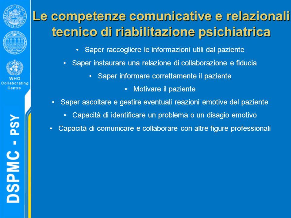 Le competenze comunicative e relazionali tecnico di riabilitazione psichiatrica Saper raccogliere le informazioni utili dal paziente Saper instaurare