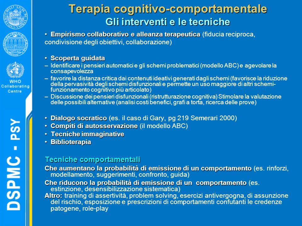 Terapia cognitivo-comportamentale Gli interventi e le tecniche Empirismo collaborativo e alleanza terapeuticaEmpirismo collaborativo e alleanza terape
