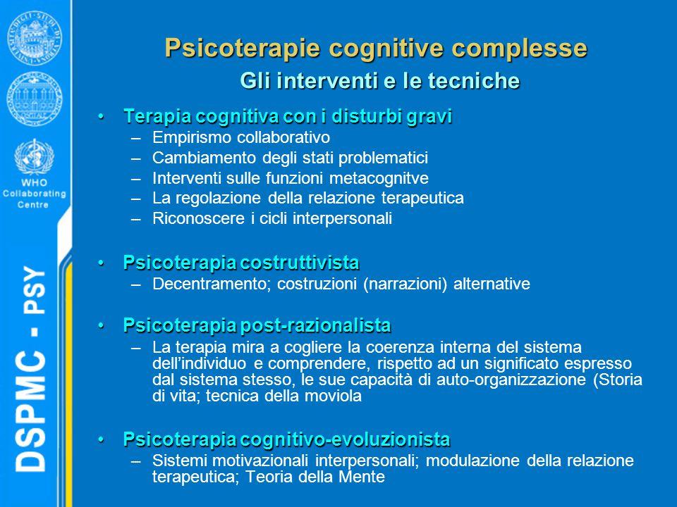 Psicoterapie cognitive complesse Gli interventi e le tecniche Terapia cognitiva con i disturbi graviTerapia cognitiva con i disturbi gravi –Empirismo