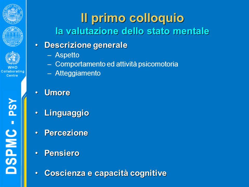 Il primo colloquio la valutazione dello stato mentale Descrizione generaleDescrizione generale –Aspetto –Comportamento ed attività psicomotoria –Atteggiamento UmoreUmore LinguaggioLinguaggio PercezionePercezione PensieroPensiero Coscienza e capacità cognitiveCoscienza e capacità cognitive
