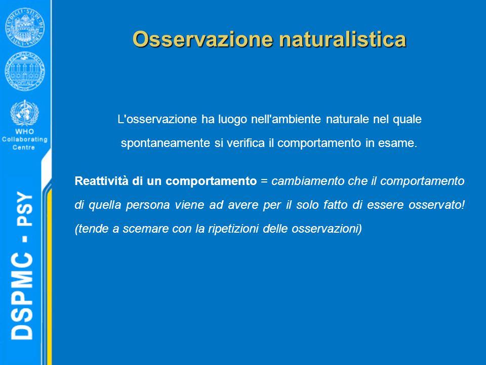 Osservazione naturalistica L'osservazione ha luogo nell'ambiente naturale nel quale spontaneamente si verifica il comportamento in esame. Reattività d