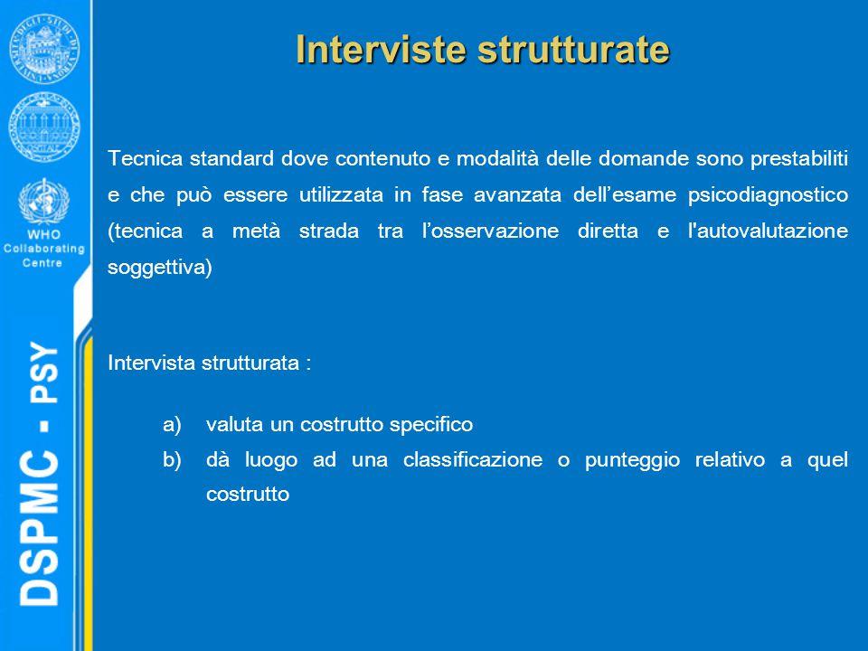 Interviste strutturate Tecnica standard dove contenuto e modalità delle domande sono prestabiliti e che può essere utilizzata in fase avanzata dell'es