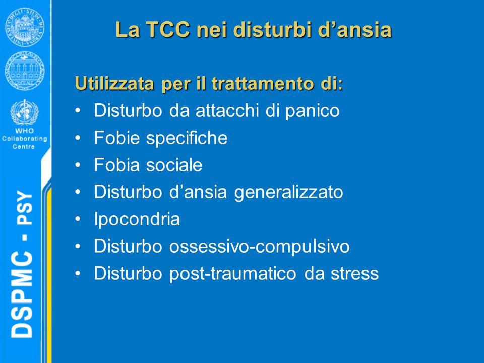 La TCC nei disturbi d'ansia Utilizzata per il trattamento di: Disturbo da attacchi di panico Fobie specifiche Fobia sociale Disturbo d'ansia generalizzato Ipocondria Disturbo ossessivo-compulsivo Disturbo post-traumatico da stress