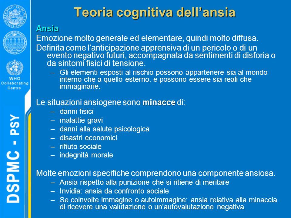 Teoria cognitiva dell'ansia Ansia Emozione molto generale ed elementare, quindi molto diffusa. Definita come l'anticipazione apprensiva di un pericolo