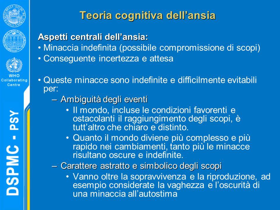 Teoria cognitiva dell'ansia Aspetti centrali dell'ansia: Minaccia indefinita (possibile compromissione di scopi) Conseguente incertezza e attesa Quest