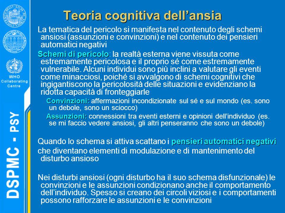 Teoria cognitiva dell'ansia La tematica del pericolo si manifesta nel contenuto degli schemi ansiosi (assunzioni e convinzioni) e nel contenuto dei pe