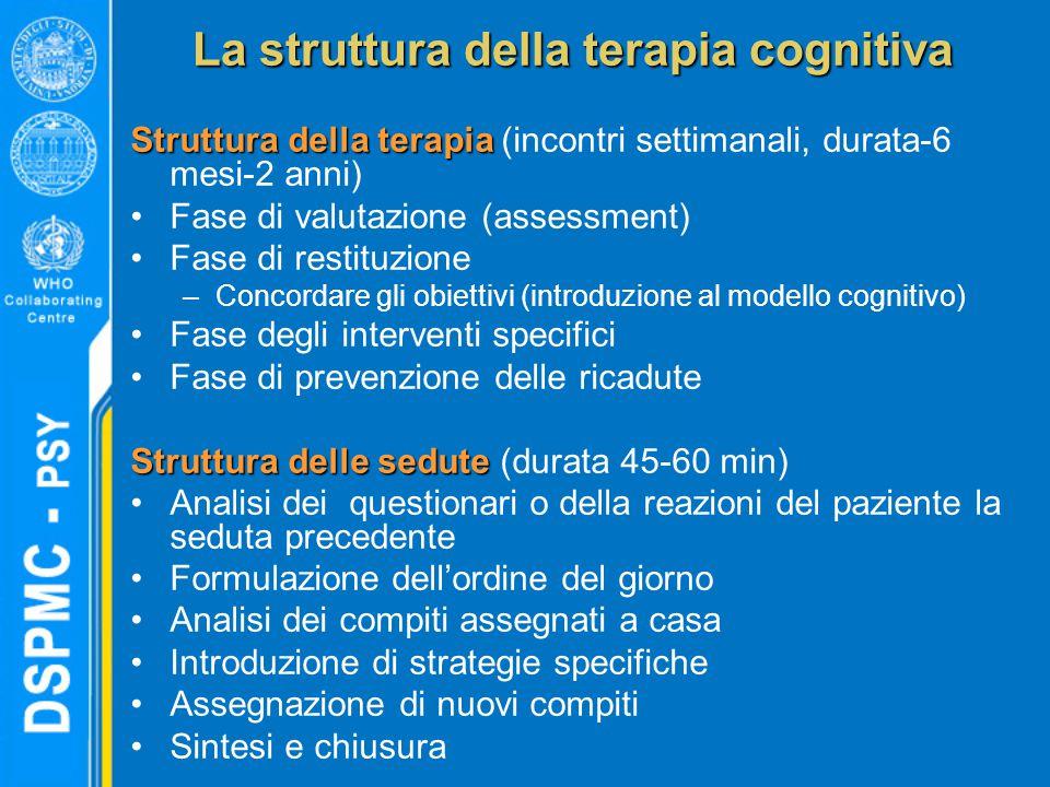 La struttura della terapia cognitiva Struttura della terapia Struttura della terapia (incontri settimanali, durata-6 mesi-2 anni) Fase di valutazione