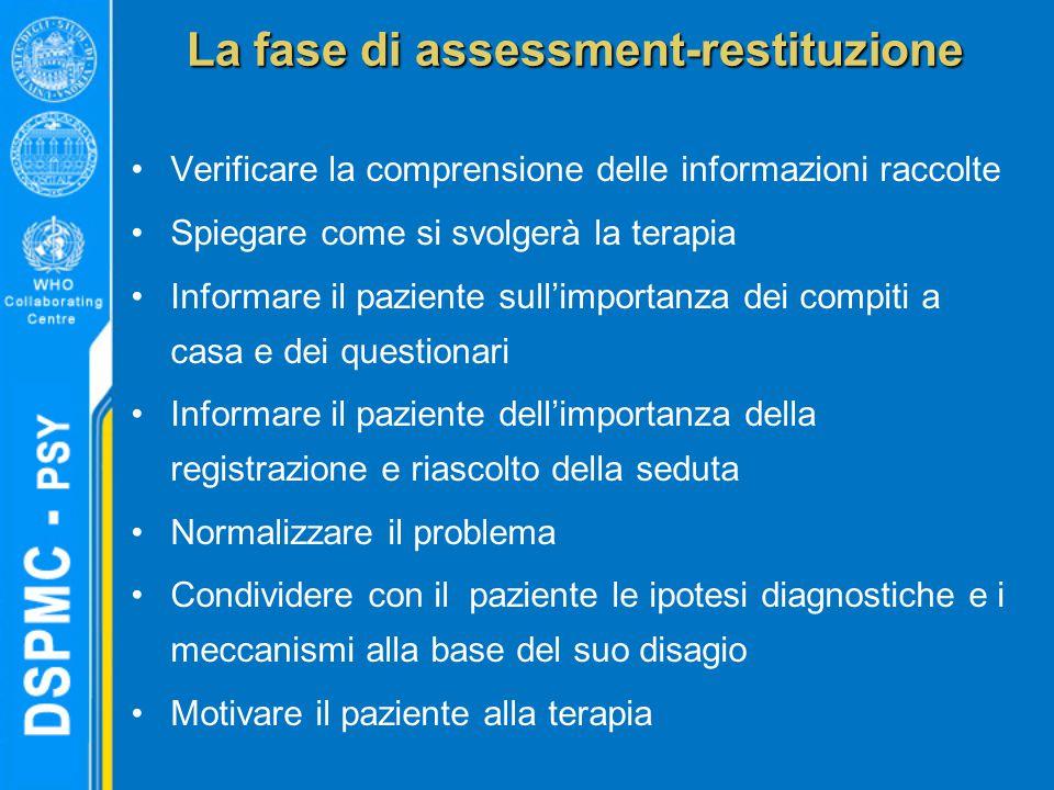 La fase di assessment-restituzione Verificare la comprensione delle informazioni raccolte Spiegare come si svolgerà la terapia Informare il paziente s