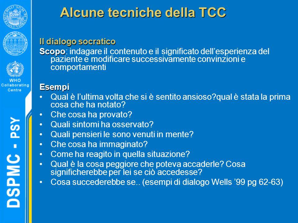 Alcune tecniche della TCC Il dialogo socratico Scopo Scopo: indagare il contenuto e il significato dell'esperienza del paziente e modificare successiv
