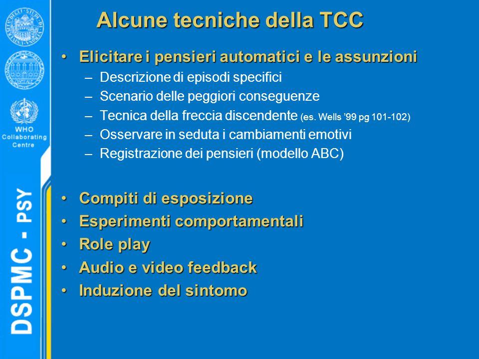 Alcune tecniche della TCC Elicitare i pensieri automatici e le assunzioniElicitare i pensieri automatici e le assunzioni –Descrizione di episodi specifici –Scenario delle peggiori conseguenze –Tecnica della freccia discendente (es.