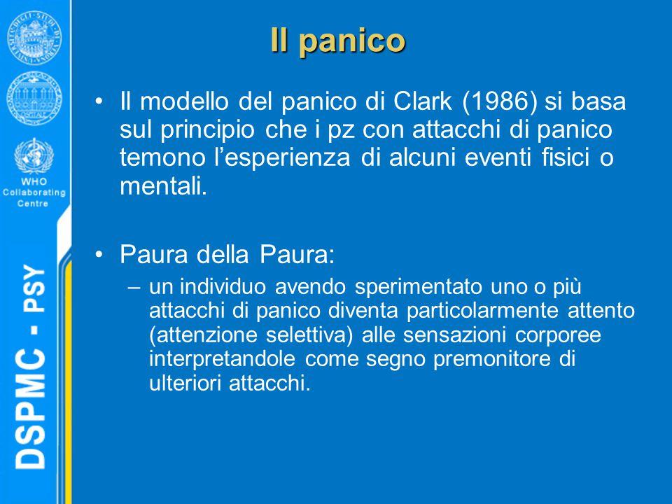 Il panico Il modello del panico di Clark (1986) si basa sul principio che i pz con attacchi di panico temono l'esperienza di alcuni eventi fisici o mentali.