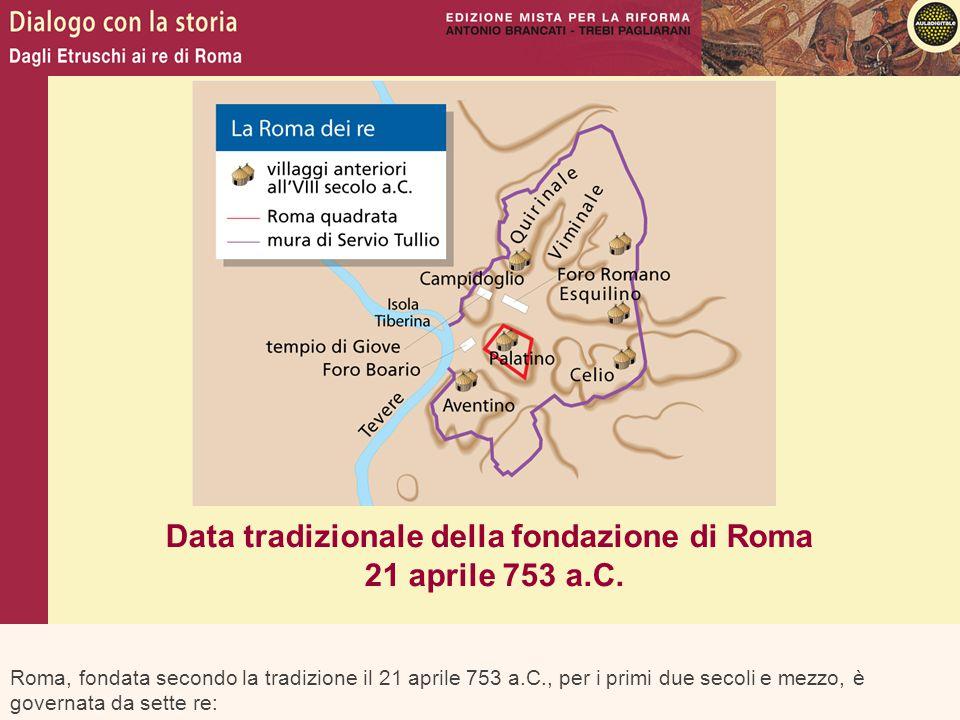 Roma, fondata secondo la tradizione il 21 aprile 753 a.C., per i primi due secoli e mezzo, è governata da sette re: Data tradizionale della fondazione