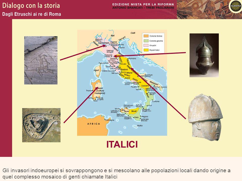 Gli invasori indoeuropei si sovrappongono e si mescolano alle popolazioni locali dando origine a quel complesso mosaico di genti chiamate Italici ITAL
