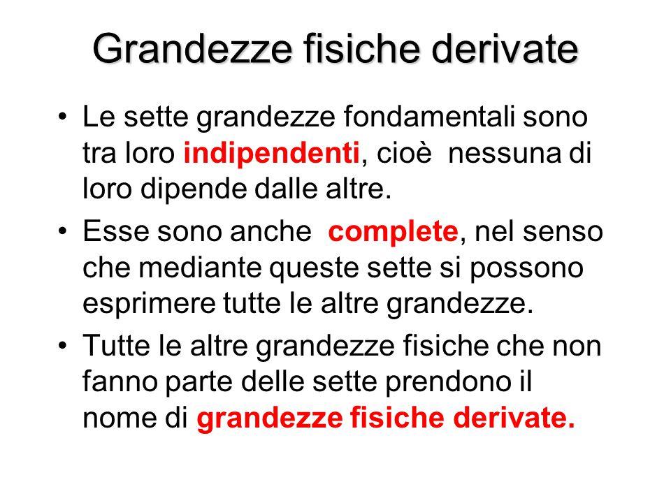 Grandezze fisiche derivate Le sette grandezze fondamentali sono tra loro indipendenti, cioè nessuna di loro dipende dalle altre. Esse sono anche compl